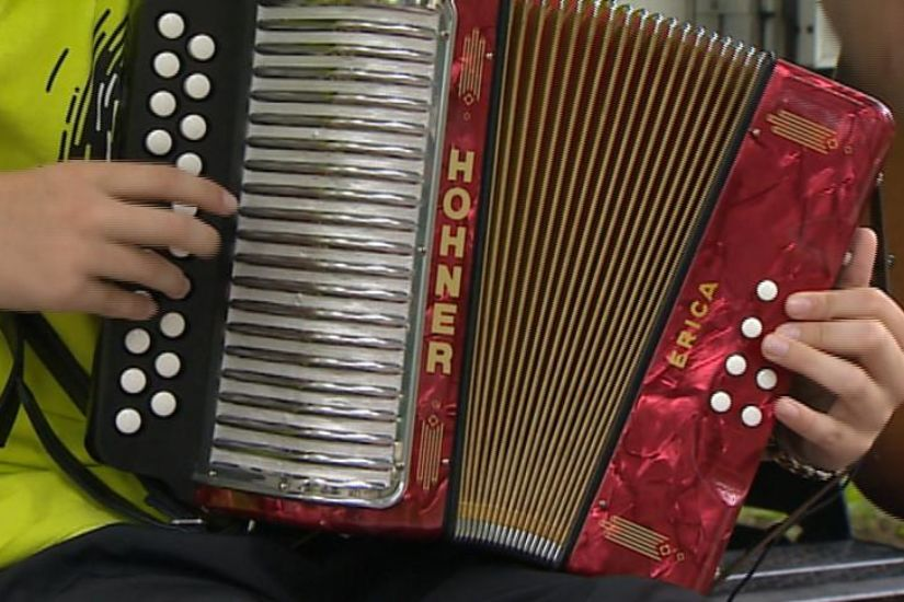 Young accordian player
