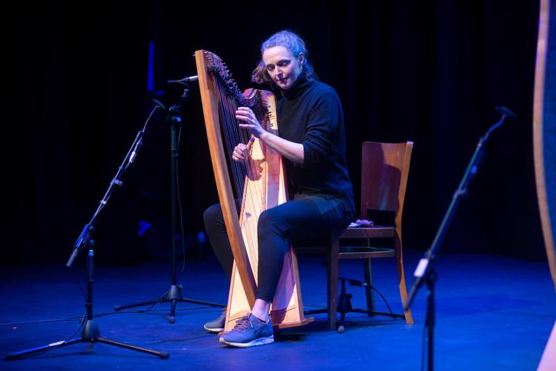 Catriona McKay on stage at Dunamaise Arts Centre, Portlaoise. (Photo credit: Denis Byrne Photography)