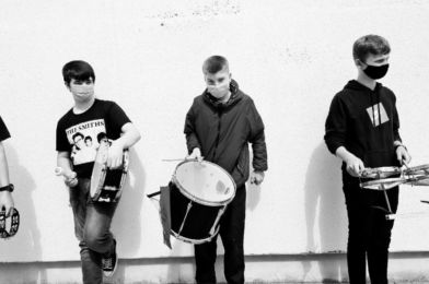 Members of the SubSounds Music Collective record the music video for 'Snakepit', an original song by Megan, re-arranged and recorded for the DECLARE & PROTEST album launch. Image: Alternative Entertainment/Music Generation South Dublin
